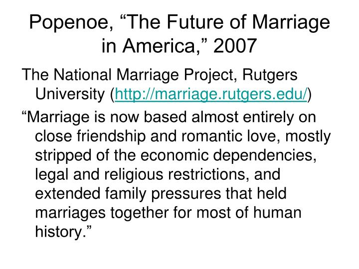 """Popenoe, """"The Future of Marriage in America,"""" 2007"""
