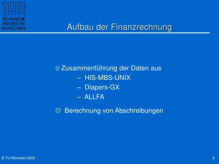 Aufbau der Finanzrechnung