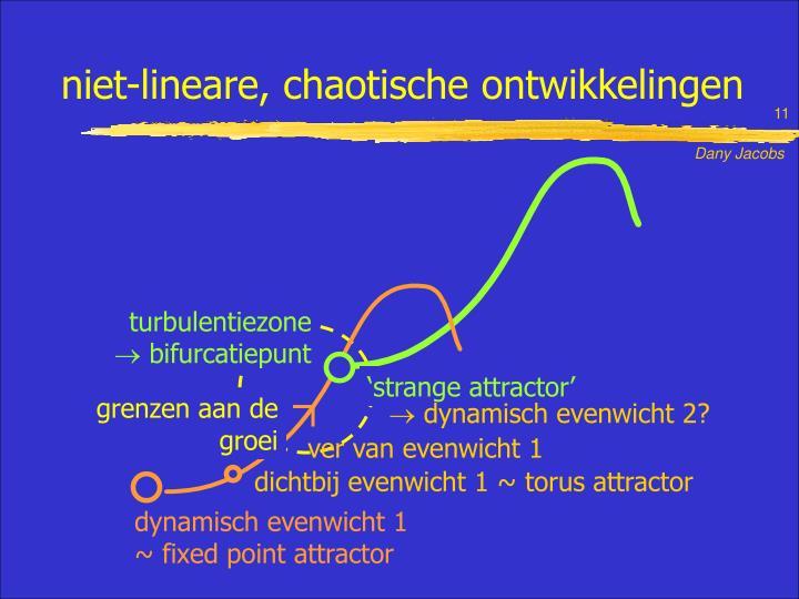 niet-lineare, chaotische ontwikkelingen