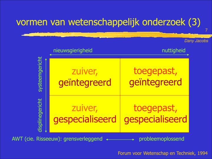 vormen van wetenschappelijk onderzoek (3)