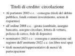 titoli di credito circolazione
