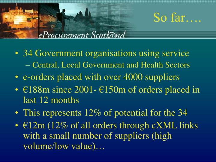 34 Government organisations using service