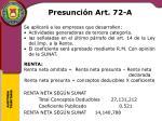 presunci n art 72 a