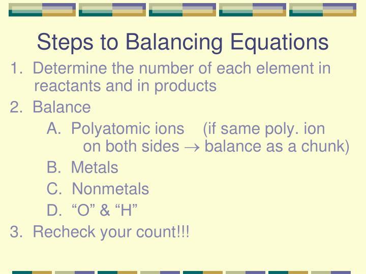 Steps to Balancing Equations