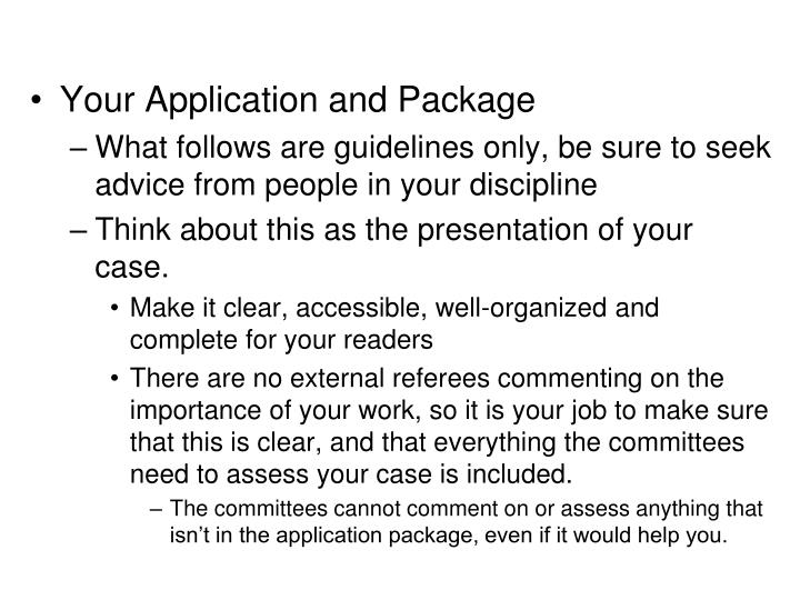 Your Application and Package
