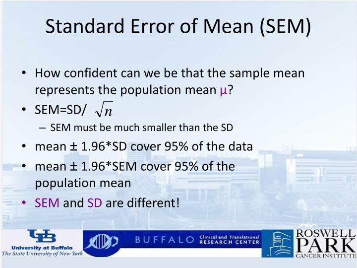 Standard Error of Mean (SEM)