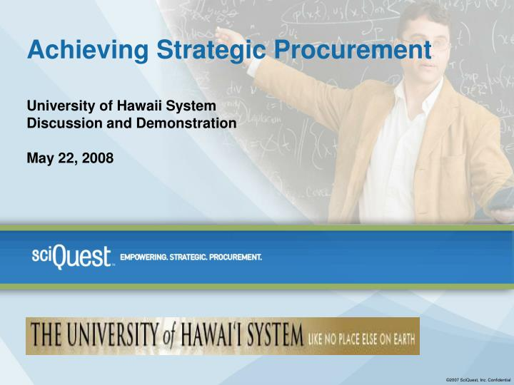 Achieving strategic procurement