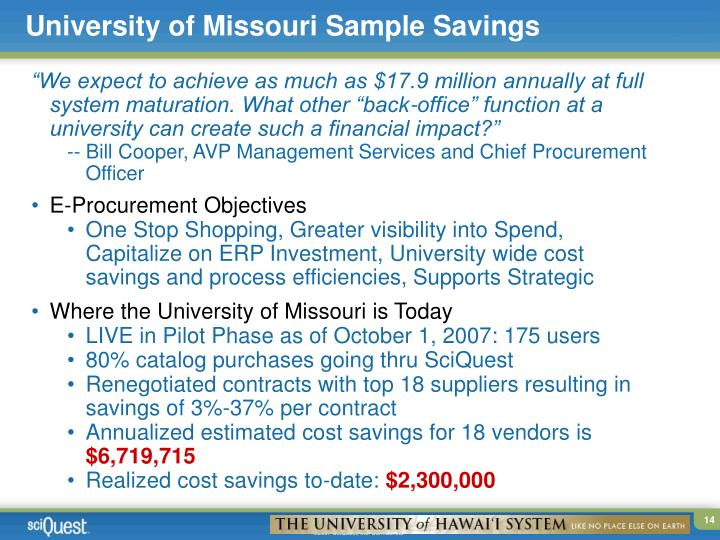 University of Missouri Sample Savings