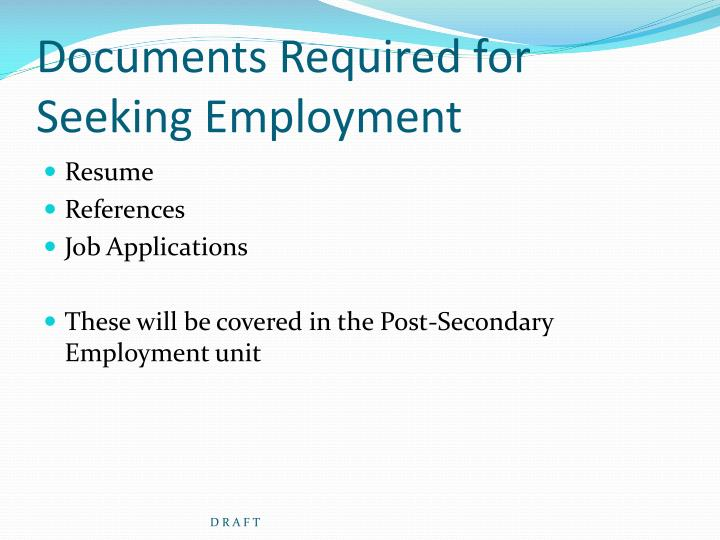 Ppt other financial assistance options for pursuing post for Documents required for job work