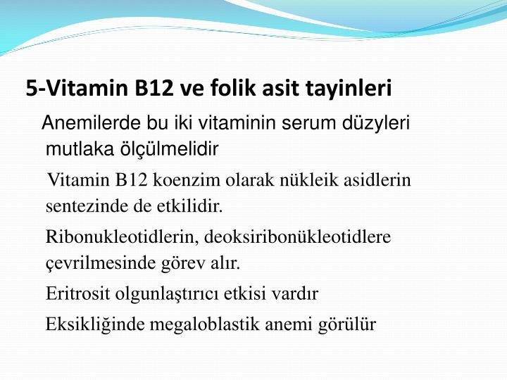 5-Vitamin B12 ve folik asit tayinleri