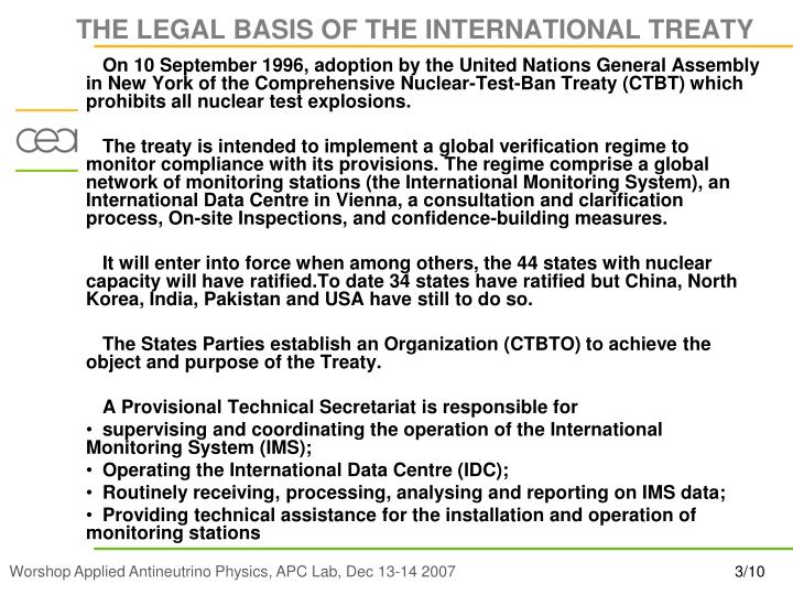 The legal basis of the international treaty