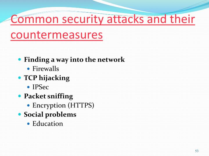 Common security attacks and their countermeasures
