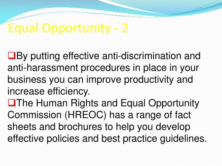 Equal Opportunity - 2