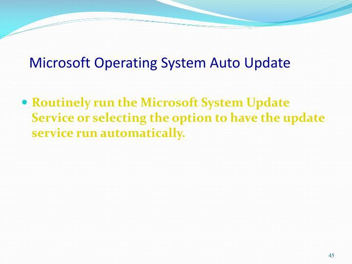 Microsoft Operating System Auto Update