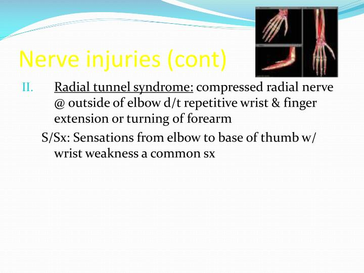 Nerve injuries (cont)