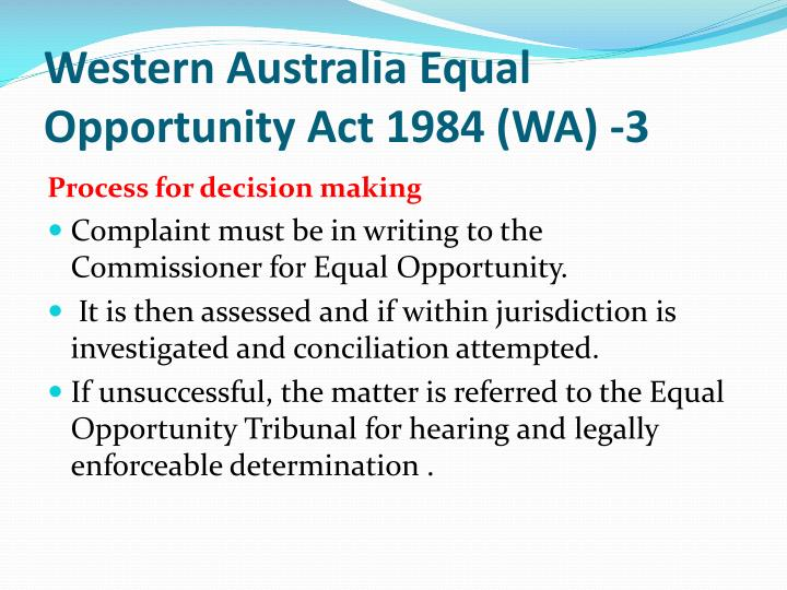 Western Australia Equal Opportunity Act 1984 (WA) -3