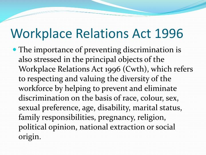 Workplace Relations Act 1996