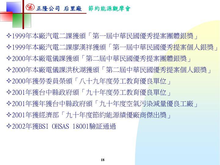 1999年本廠汽電二課獲頒「第一屆中華民國優秀提案團體銀獎」