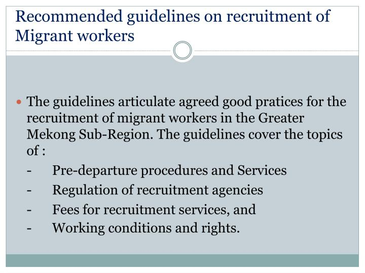 Recommended guidelines on recruitment of Migrant workers