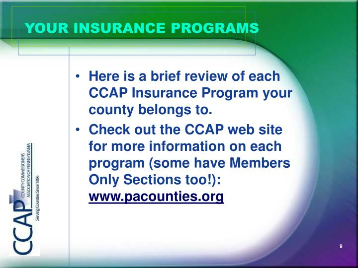 YOUR INSURANCE PROGRAMS