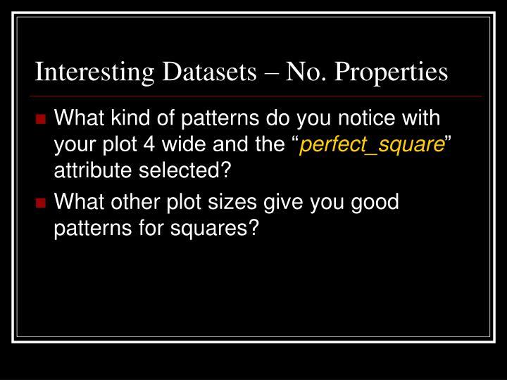 Interesting Datasets – No. Properties