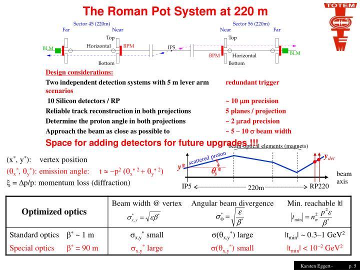 The Roman Pot System at 220 m