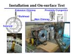installation and on surface test