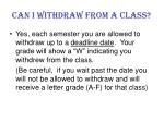 can i withdraw from a class