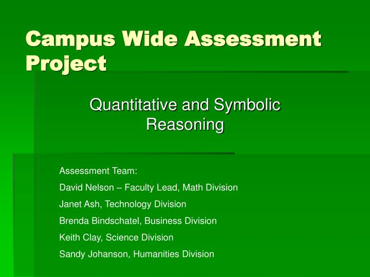 Campus wide assessment project