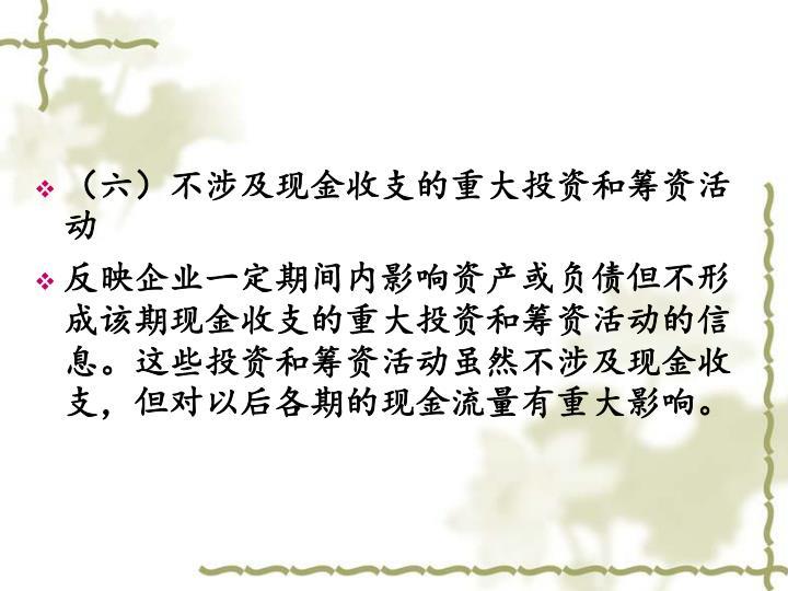 (六)不涉及现金收支的重大投资和筹资活动