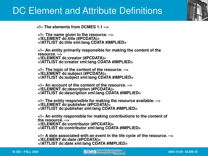 DC Element and Attribute Definitions