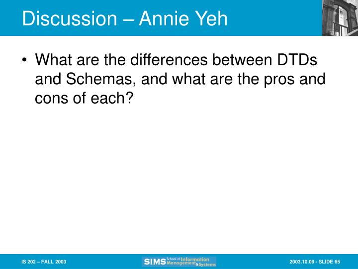 Discussion – Annie Yeh