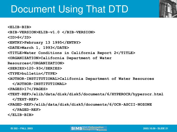 Document Using That DTD