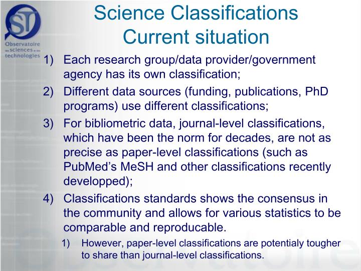 science classifications current situation n.