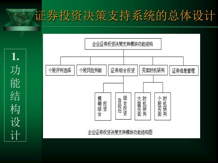 证券投资决策支持系统的总体设计