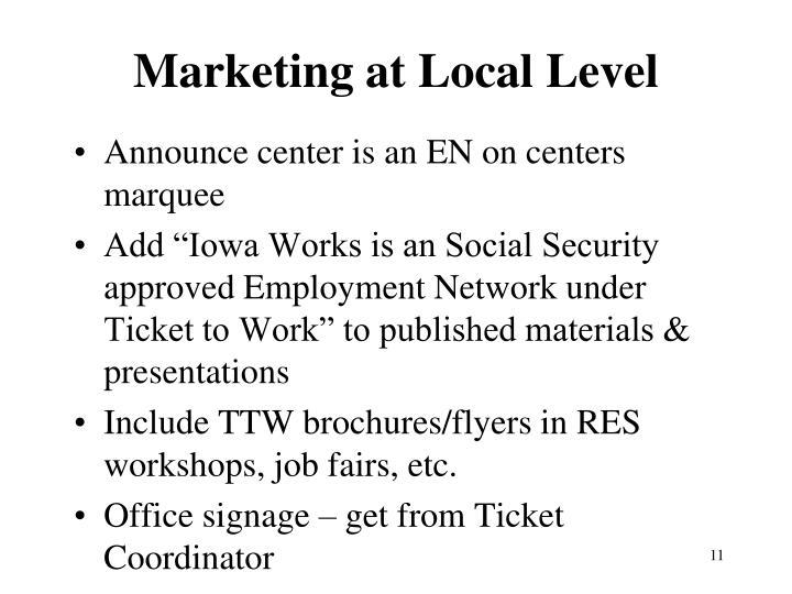 Marketing at Local Level