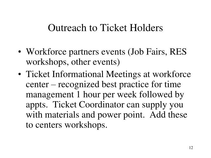 Outreach to Ticket Holders