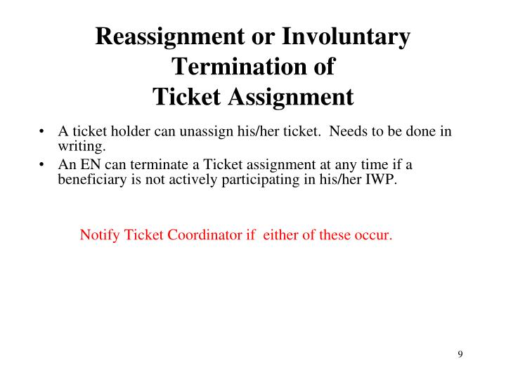 Reassignment or Involuntary Termination of