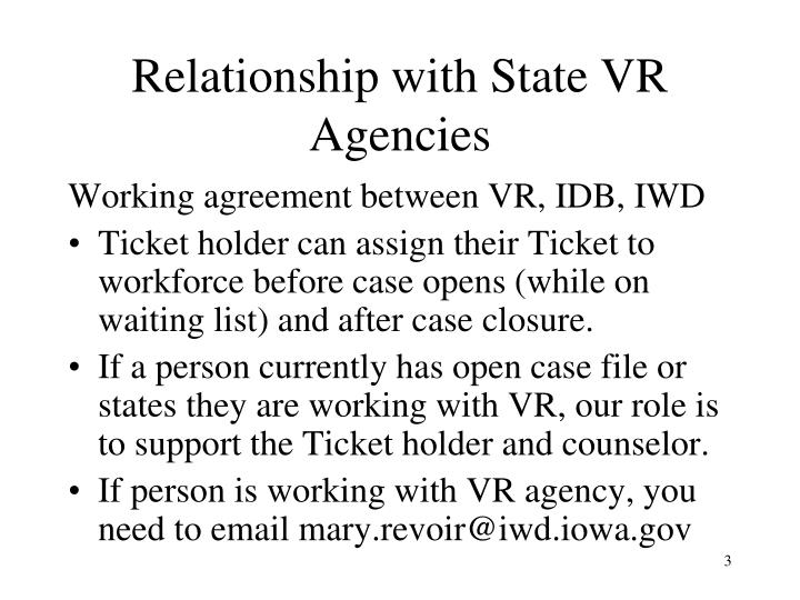 Relationship with state vr agencies