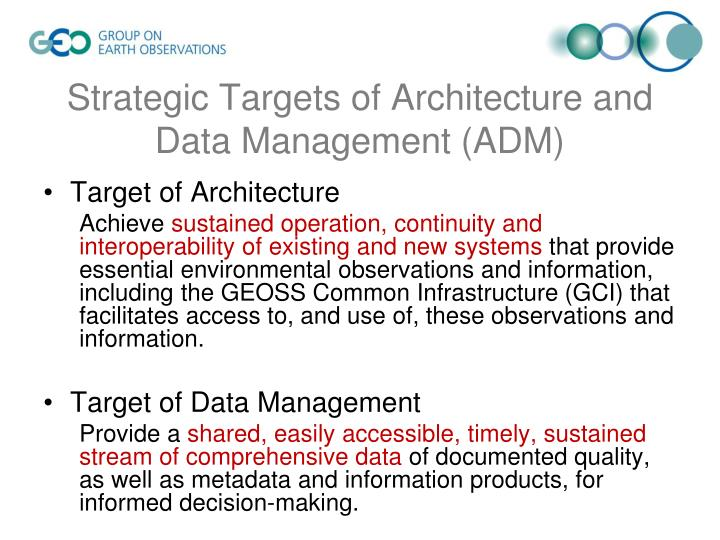 Strategic targets of architecture and data management adm