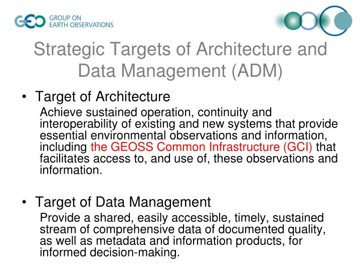 Strategic targets of architecture and data management adm1