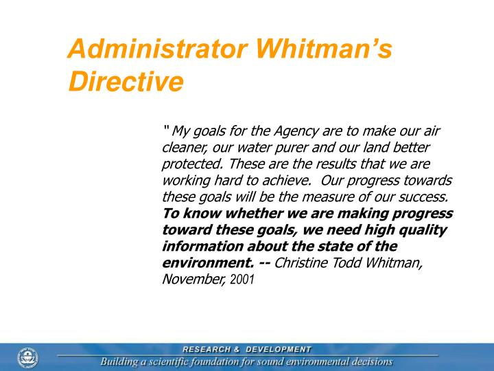 Administrator Whitman's Directive