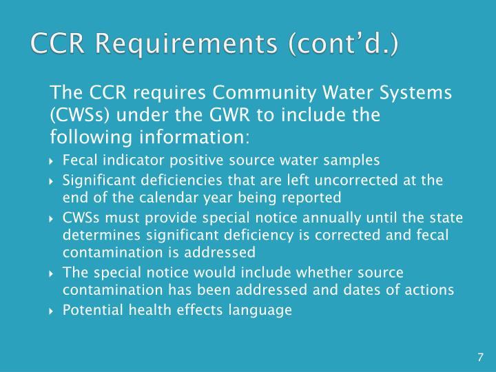CCR Requirements (cont'd.)