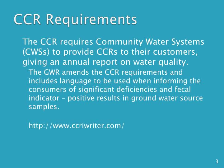 Ccr requirements