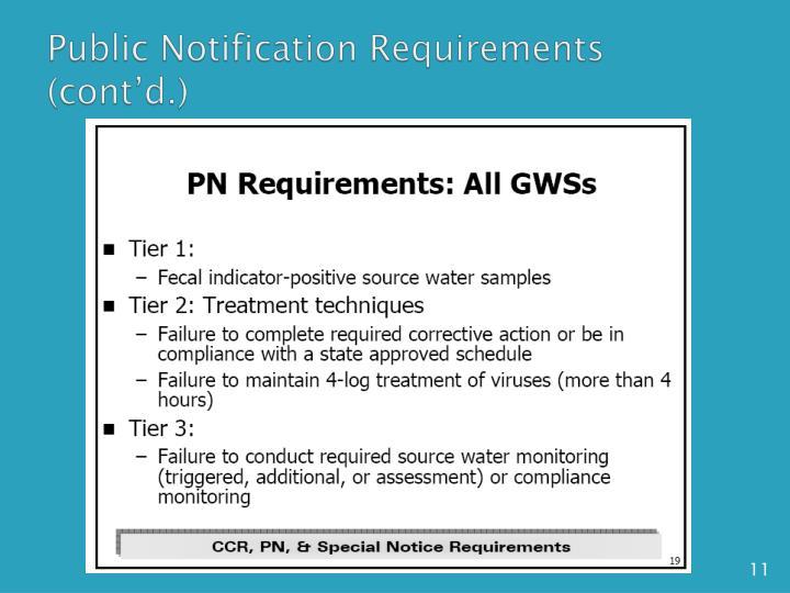 Public Notification Requirements (cont'd.)