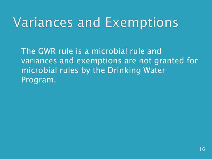 Variances and Exemptions