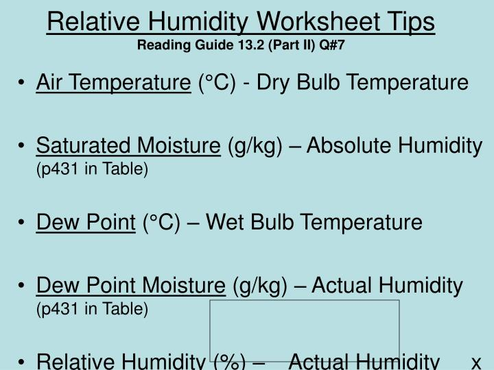 Relative Humidity Worksheet Tipsreading Guide 132 Part Ii Q7: Dewpoint And Relative Humidity Worksheet At Alzheimers-prions.com