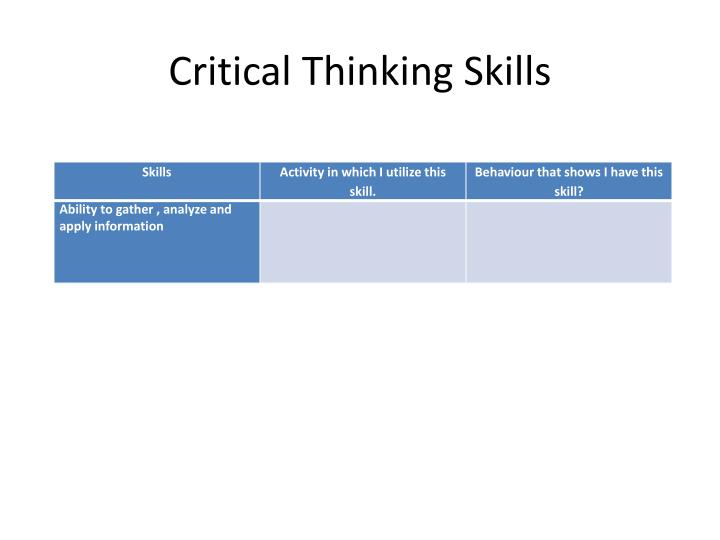 critical thinking skills survey Lecture topic: critical thinking skills instructor: dr crown institution: university of texas - pan american it is imperitive to develop a child's critical thinking skills by developing a child's critical thinking, they become better able to respond to problems presented to them.