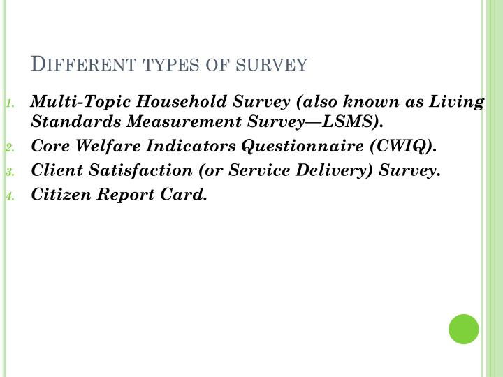 Different types of survey