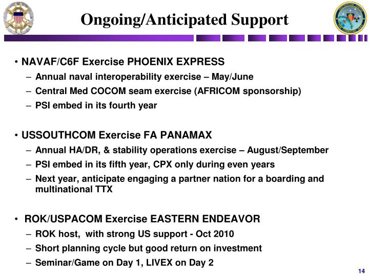 Ongoing/Anticipated Support